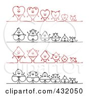 Royalty Free RF Clipart Illustration Of A Digital Collage Of Heart Spade Diamond And Club Stick Families