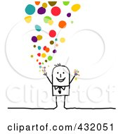 Royalty Free RF Clipart Illustration Of A Stick Businessman Releasing Confetti by NL shop