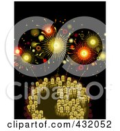 Royalty Free RF Clipart Illustration Of Stick Business People On A Globe Under Fireworks