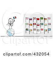 Stick Man Standing On A Globe And Holding An Italian Flag