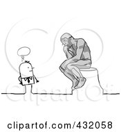 Royalty Free RF Clipart Illustration Of A Stick Man Pondering Over A Thinker Statue