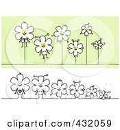 Royalty Free RF Clipart Illustration Of A Digital Collage Of A Happy Flower Family Hanging And In A Row