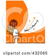 Stick Man Holding Pumpkins And Shouting Happy Halloween On An Orange Background