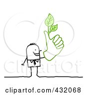 Royalty Free RF Clipart Illustration Of A Stick Businessman With A Green Thumb