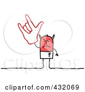 Royalty Free RF Clipart Illustration Of A Devil Stick Man Holding Up A Hand Gesture by NL shop