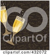 Royalty Free RF Clipart Illustration Of Two Glasses Of Bubbly Champagne Over A Brown Happy New Year Background by NL shop