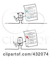 Royalty Free RF Clipart Illustration Of A Digital Collage Of A Stick Man And Woman Holding Up Questionnaires