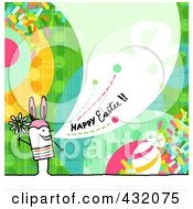 Royalty Free RF Clipart Illustration Of A Stick Man Holding A Flower And Wearing Bunny Ears And Shouting Happy Easter On A Colorful Background by NL shop