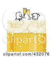 Royalty Free RF Clipart Illustration Of A Stick Couple Toasting And Floating On Bubbly Champagne