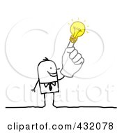 Royalty Free RF Clipart Illustration Of A Stick Businessman With An Idea Hand by NL shop