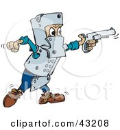 Clipart Illustration Of A Man In Metal Armor Shooting A Pistil