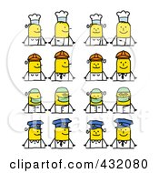 Royalty Free RF Clipart Illustration Of A Digital Collage Of Occupational Stick Couples