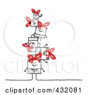 Royalty Free RF Clipart Illustration Of A Square Stick Family And Dog In A Pile