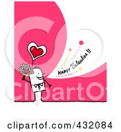 Stick Man Holding Flowers And Shouting Happy Valentine On A Pink Background