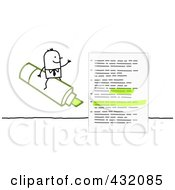 Royalty Free RF Clipart Illustration Of A Stick Businessman Sitting On AGreen Highlighter By A Document