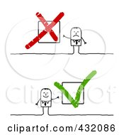 Royalty Free RF Clipart Illustration Of A Digital Collage Of Stick Men With X And Check Boxes