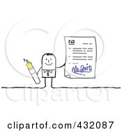 Royalty Free RF Clipart Illustration Of A Stick Man Holding An Ink Pen And Signed Contract