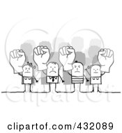 Royalty Free RF Clipart Illustration Of Mad Stick People Holding Up Fists