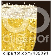 Royalty Free RF Clipart Illustration Of A Closeup Of Happy New Year Text In A Glass Of Bubbly Champagne On Brown