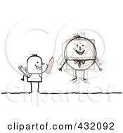 Royalty Free RF Clipart Illustration Of A Stick Artist Man Drawing A Round Man by NL shop