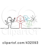 Royalty Free RF Clipart Illustration Of A Stick Artist Man Drawing Different Shaped Men by NL shop
