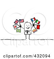 Royalty Free RF Clipart Illustration Of A Stick Man Holding Flags by NL shop