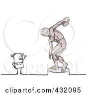 Royalty Free RF Clipart Illustration Of A Stick Woman Waving At A Thrower Statue