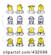 Royalty Free RF Clipart Illustration Of A Digital Collage Of Stick Couples With Different Emotional Expressions 3
