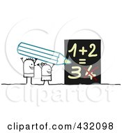 Stick Boy And Girl Holding A Pencil And Solving A Math Problem
