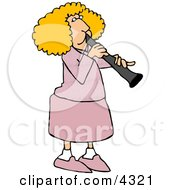 Female Clarinet Player Playing The Woodwind Clarinet Instrument Clipart