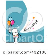Stick Man Holding A Gift And Shouting Happy Birthday On A Turquoise Background by NL shop
