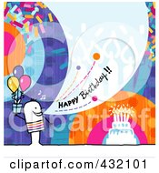 Royalty Free RF Clipart Illustration Of A Stick Man Holding A Gift And Shouting Happy Birthday On A Colorful Background by NL shop
