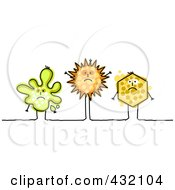 Royalty Free RF Clipart Illustration Of Three Sick Splatter Sun And Hexagon Shapes With Spots