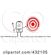 Stick Businessman Holding An Arrow And Target by NL shop