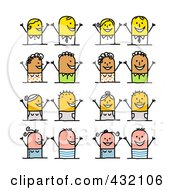 Royalty Free RF Clipart Illustration Of A Digital Collage Of Stick Couples With Different Emotional Expressions 4