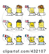 Royalty Free RF Clipart Illustration Of A Digital Collage Of Cultural Stick Couples With Flags by NL shop