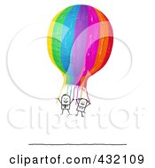 Royalty Free RF Clipart Illustration Of A Stick Couple Hanging Onto A Colorful Hot Air Balloon