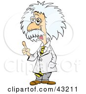 Clipart Illustration Of Albert Einstein Standing And Gesturing With His Finger by Dennis Holmes Designs #COLLC43211-0087