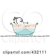 Happy Stick Woman Taking A Bubble Bath In A Clawfoot Tub