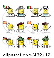 Digital Collage Of Cultural Stick Couples With Italian Spanish And German Flags