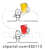 Royalty Free RF Clipart Illustration Of A Digital Collage Of Stick Businessmen Holding Cards by NL shop