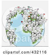 Royalty Free RF Clipart Illustration Of A Globe With International Stick Business People Holding Flags by NL shop