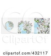 Digital Collage Of Pieces Of A Globe With International Stick Business People Holding Flags 1