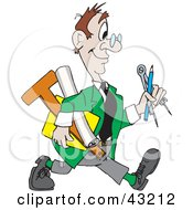 Clipart Illustration Of A Happy Architect Walking With His Tools
