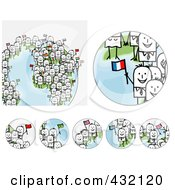 Royalty Free RF Clipart Illustration Of A Digital Collage Of Pieces Of A Globe With International Stick Business People Holding Flags 2 by NL shop