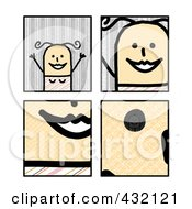 Royalty Free RF Clipart Illustration Of A Digital Collage Of Pieces Of A Happy Stick Woman