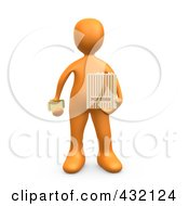 3d Orange Person Holding A Movie Ticket And A Bag Of Popcorn