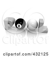 Royalty Free RF Clipart Illustration Of A 3d Word POOL With A Cue And Eight Ball