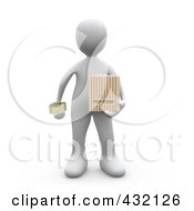 Royalty Free RF Clipart Illustration Of A 3d White Person Holding A Movie Ticket And A Bag Of Popcorn