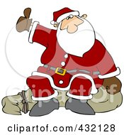 Royalty Free RF Clipart Illustration Of Santa Sitting On His Sack And Hitchhiking